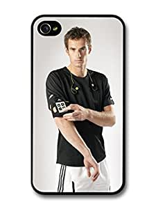 AWU DIYAndy Murray Serious Black Scottish Tennis Player case for iPhone 4 4S