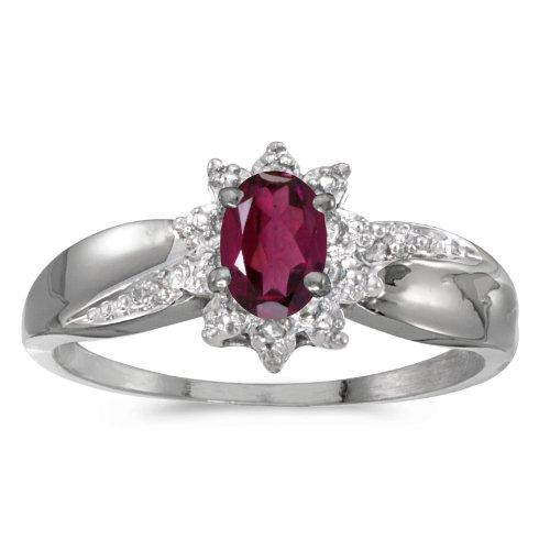(10k White Gold Oval Rhodolite Garnet And Diamond Ring. Size 10.5)