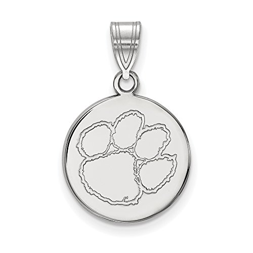 Clemson Medium (5/8 Inch) Disc Pendant (10k White Gold) by LogoArt