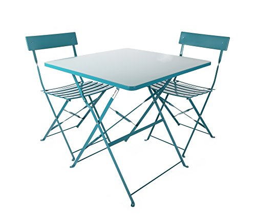 Westfield Outdoors Unisex Coral Square Table and Chairs Patio Outdoor Garden Furniture Set, Blue (Furniture Garden Uk Bistro Set)