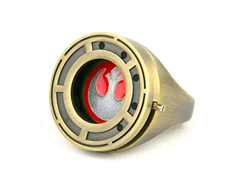 (Star Wars Rose Tico's Resistance Ring with Shutter Prop Replica - Size 9 - The Last Jedi Collectible Accessory and Jewelry - Unique Gift for Halloween Costume, Cosplay, Birthdays)