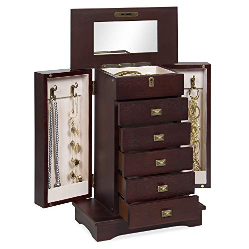 Best Choice Products Handcrafted Wooden Jewelry Box Organizer Tabletop Armoire Cabinet for Earrings, Rings, Necklaces - -