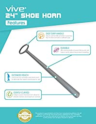 Shoe Horn by Vive - Long Handled Shoe Horn for Boots, Shoes and More