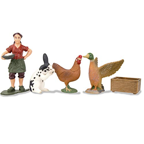 TOYMANY Solid Farm Animal Figures Playset with a Farmer, Plastic Farm Animals Toy Set with a Rabbit Hen Duck Breeder & Feed Box, Birthday Gift for Toddlers Kids Children