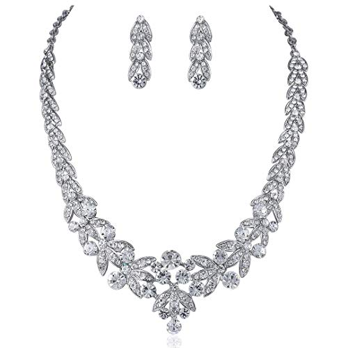 Janefashions Floral Clear Austrian Rhinestone Crystal Necklace Earrings Set Bridal Prom N1601 Silver ()