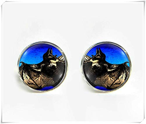 Goodnight cat Vampire Bat Small Post Stud Earrings,Dome Glass Jewelry, Pure Hand-Made