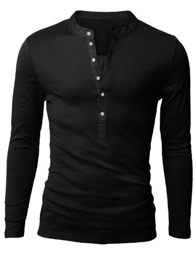 Doublju Mens Basic Slim Fit Long Sleeve Henley Shirts