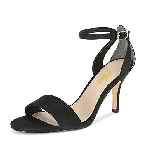 Fsj Women Wedding Satin Open Toe Sandali Cinturino Alla Caviglia Stiletto Tacco Alto Scarpe Taglia 4-15 Us Nero
