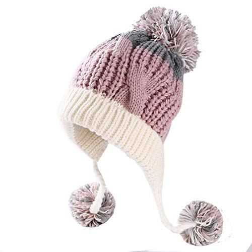 Huamulan Women Peruvian Fleeced Winter Thick Beanie Hat Ski Ear Flaps Caps Dual Layered Pompoms,Pink White