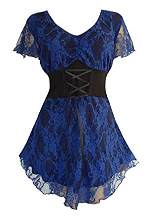 Dare To Wear Victorian Gothic Boho Women's Plus Size Sweetheart Corset Top Blue Violet S