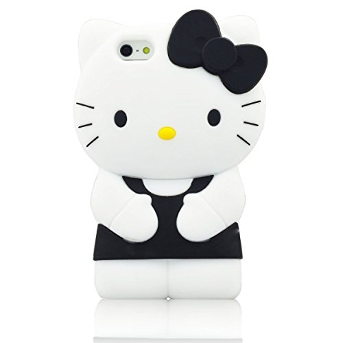 iPhone 6 Case, Phenix-Color 3D Cute Cartoon Monster Blue Giant Horn University Style Silicone Rubber Case for iPhone 6 4.7 Inch (Hello Kitty black)