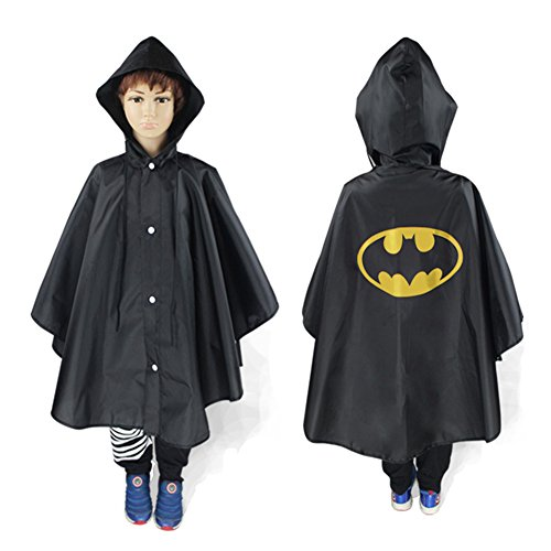 TEKIMBE Cute Baby Kids Raincoat Poncho Cape Waterproof Rainwear Hood Jacket Superhero Superman Cosplay Costume (Black Superman Cosplay)