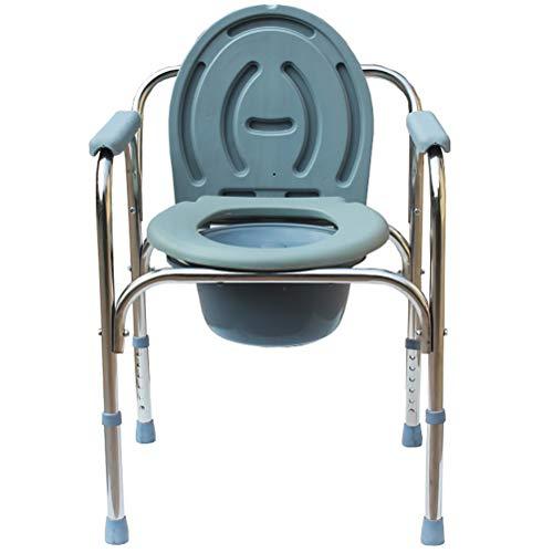 LiuHX Silla para Mayores Silla para WC con Cubierta En Acero Cromado Ajustable En Altura Mujer Embarazada Conveniente Paciente Incomodo En El Inodoro