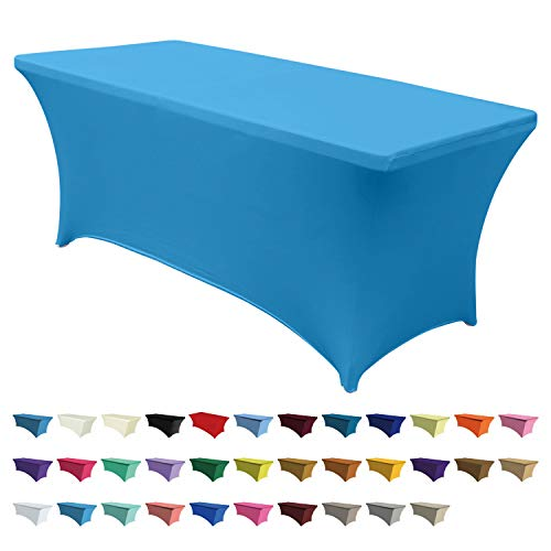 ABCCANOPY Spandex Table Cover 6 ft. Fitted 30+ Colors Polyester Tablecloth Stretch Spandex Table Cover-Table Toppers (Black) (6 FT Table Cover, -