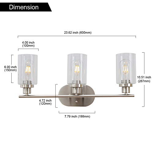 VINLUZ 3 Light Brushed Brass Wall Light Contemporary Wall Sconce Bathroom Lighting Fixture with Clear Glass Shade UL Listed by VINLUZ (Image #6)