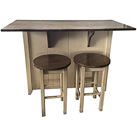 Country Wooden Counter Height Small Kitchen Island With Stools Antique White