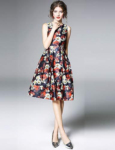 elegante a donna floreale stampa Abito Red vintage righe da YFLTZ xw16RYgHqn