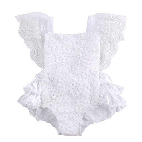 Angekids Baby Infant Girl Pure White Pretty Lace Floral Princess Party Dress Romper (6-12M(Tag9), White)