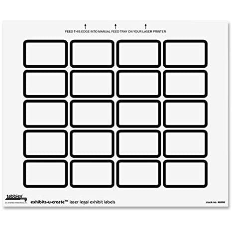 8-1//2W x 7H Sheet 240 Labels//Pack White Tabbies Legal Exhibits-U-Create 1-5//8W x 1H Labels 48090