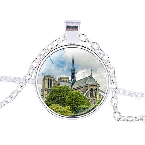 HCDjgh Long Necklaces for Women Fashion Jewelry Bar Rose Window Stained Glass De Paris Cathedral Pendant Necklace
