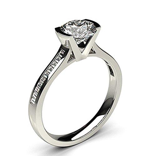 14K White Gold (HallMarked) , Round Cut Semi Bezel Setting Medium Side White Diamond Engagement Wedding Ring Size - 8