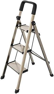 Escalera plegable taburete banqueta Escalera marrón de 3 peldaños, escalera de tijera plegable ligera de aluminio con escalón ancho y pasamanos, para la cocina doméstica interior, carga 150 kg: Amazon.es: Bricolaje y