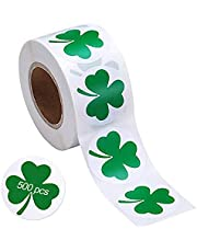 St. Patrick's Day Stickers, 500 Pieces 1.5inch Irish Shamrock Sticker Roll 4 Leaf Clover Stickers for Bags Boxes Wrap Cards Party Decoration Supplies1