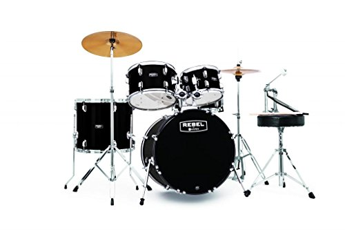 MAPEX RB5044FTCDK Rebel 5-Piece Drum Set with Hardware and Cymbals Black with 20-Inch Bass Drum