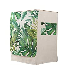 Vosarea Washing Machine Cover Front Load Automatic Washer Dryer Cover Dustproof 60x60x83cm (Linen Cotton Tropical Palm Leaves Pattern)
