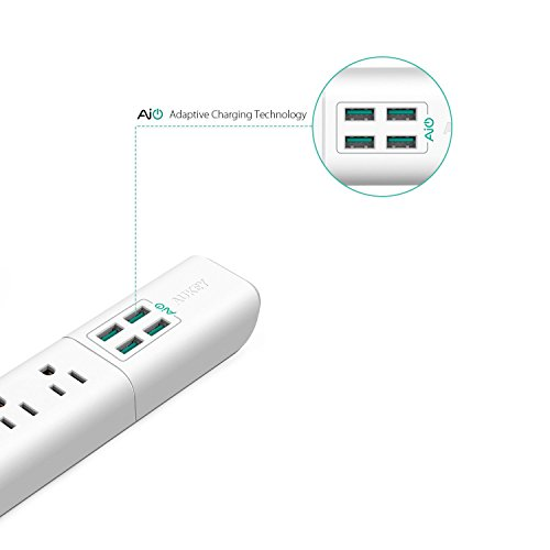 AUKEY Power Strip with 4 USB Ports and 4 Outlets & 5ft Power Cord for Smartphone, Laptop, Tablet, Lamp and More - White by AUKEY (Image #1)
