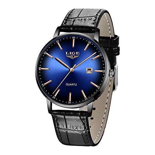 LIGE Men's Watches Ultra-Thin Minimalist Waterproof Stylish Unisex Wrist Watches with Leather Strap Analog Quartz Watches for Men
