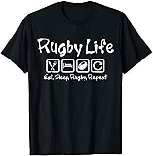 Cool Gift RUGBY LIFE, RUGBY T-SHIRT, EAT SLEEP RUGBY REPEAT SHIRT Women Long Sleeve Funny Shirt / Navy / S - 5XL
