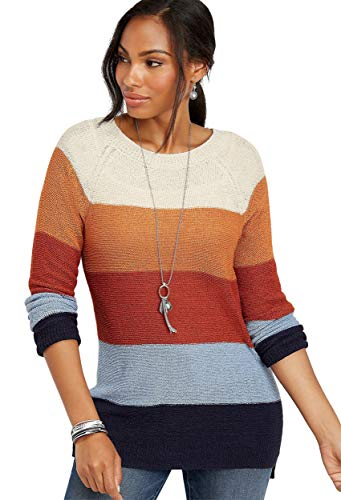 maurices Women's Colorblock Stripe Tunic Sweater Xx Large Hearth Combo (Maurices Tunic Sweater)