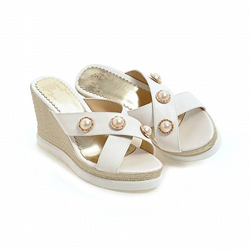 Carolbar Kvinner Beaded Plattform Beach Party Wedges Sandaler Tøfler Off-white