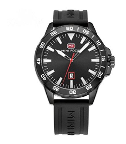 LYMFHCH mens watch quartz watch sports fashion waterproof watch silicone tape Black