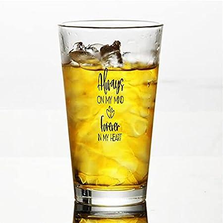 Copa de cristal Always On My Mind Forever In My Heart, Always On My Mindever In My Heart, Memorial, en memoria, cristal para agua, zumo, cerveza, licor, whisky en boda, fiesta, día de la madre, Fa