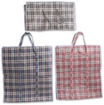 Size=23H x 18L x 10W Set of 5 Large EXTRA-WIDE Plastic Checkered Laundry Bags with Zipper /& Handles Black /& White. Colors Vary between Blue Red