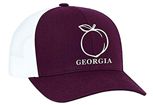 Heritage Pride Georgia Peach Embroidered Trucker Hat-Maroon,White Embroidery