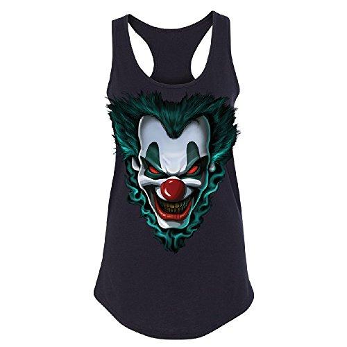 [Psycho Clown Joker Face Women's Racerback Funny Halloween 2017 Costume Shirt Black Medium] (Cool Halloween Costumes 2017)
