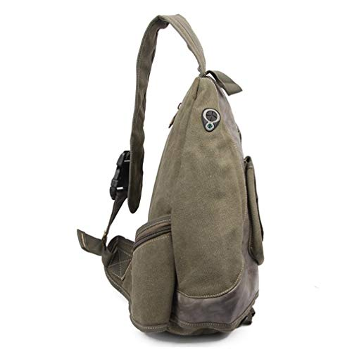 Vintage Messenger Mens Shoulder Sling Canvas Black Cross Leather Casual Body Bag Pack Chest Men 4dxIn8f5q4