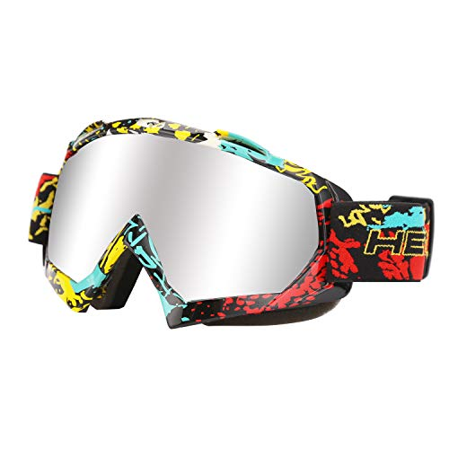Motorcycle Goggles, Riding Goggle UV400 Eyewear with Padded Soft Thick Foam, Adjustable Strap for Adults' Cycling Motocross