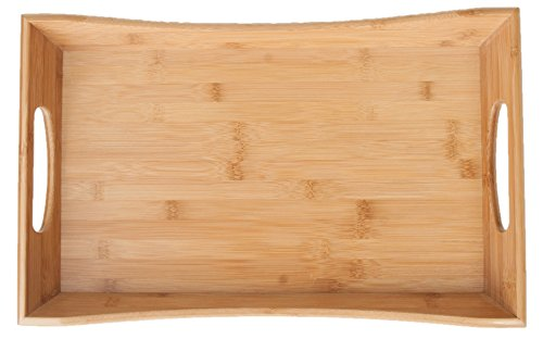 SB Trays Bamboo Serving Tray w/ Handles: Serve food, coffee or tea, or use as a party platter; decorative rectangular ottoman tray (Tea Trays With Handles)