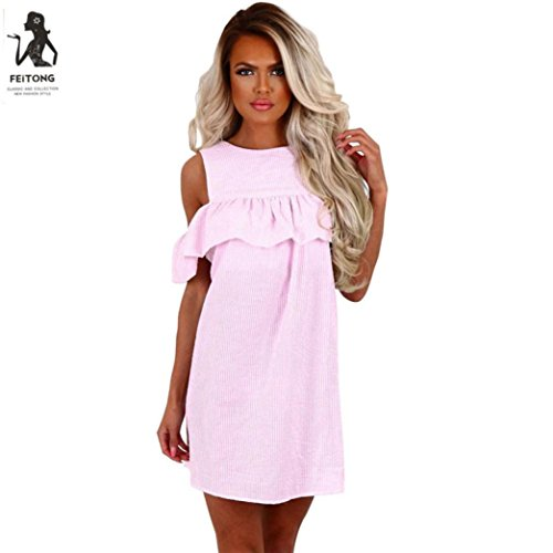 Qisc Womens Dress Womens Off The Shoulder High Low Bodycon Mermaid Evening Party Midi Dress Dovetail Bodycon (L, Pink)