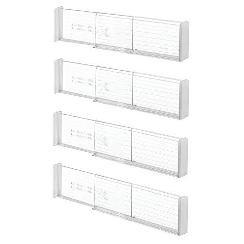 InterDesign Linus Adjustable Deep Drawer Organizer Dividers for Kitchen or Dresser - Set of 2; Clear