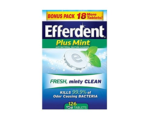 Efferdent Plus Mint Anti-Bacterial Denture Cleanser Tablets 126 ea (Pack of 6) by Efferdent