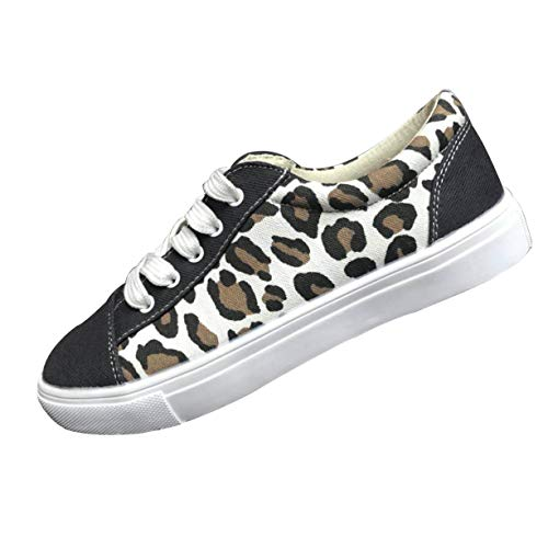 TnaIolral Women Summer Shoes Wild Round Toe Casual Flat Outdoor Leopard Sneakers (US:4, White)