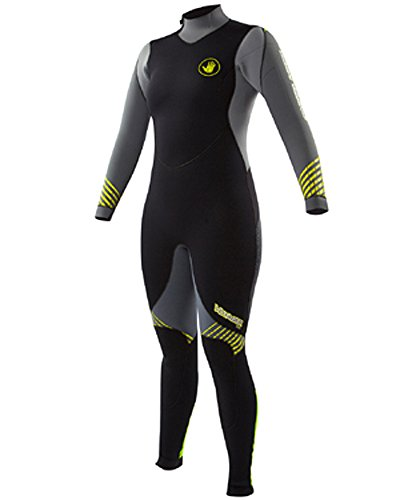 BODY GLOVE 5MM WOMEN'S VOYAGER BACK ZIP FULL SUIT WETSUIT (Grey/Lime, 13/14)