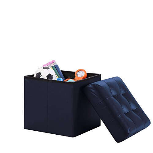 (Home Sweet Home Ottoman Faux Leather Bench Folding Box Storage (Small Size 15'' x 15'' x 15'', Navy))