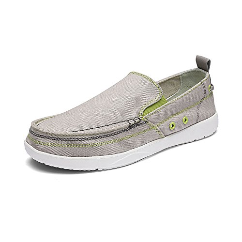 VILOCY Men's Casual Driving Canvas Slip-On Loafers Outdoor Walking Shoes Lightweight Sneakers Gray,43 by VILOCY