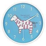 DecoMates Non-Ticking Silent Wall Clock, Pink Zebra, Blue
